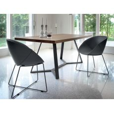 Archie - Domitalia fixed metal table with veneered wooden top, different colours available