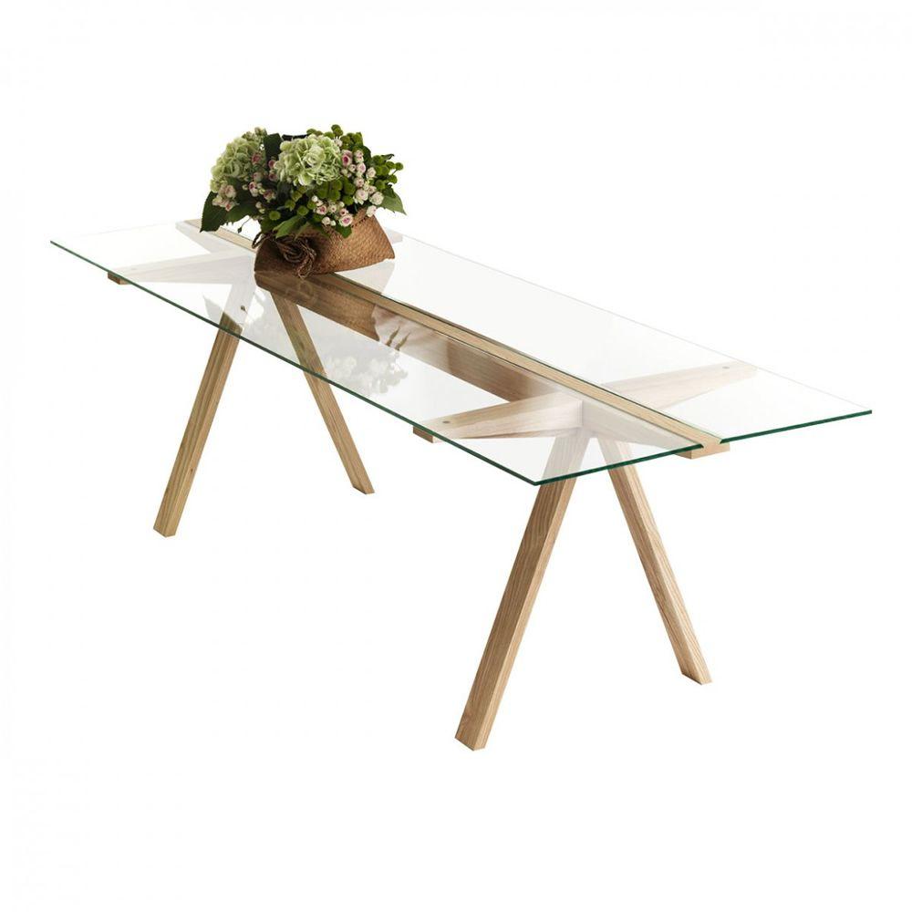 Traverso sbalzo mesa valsecchi de madera con sobre de for Mesas de madera con cristal