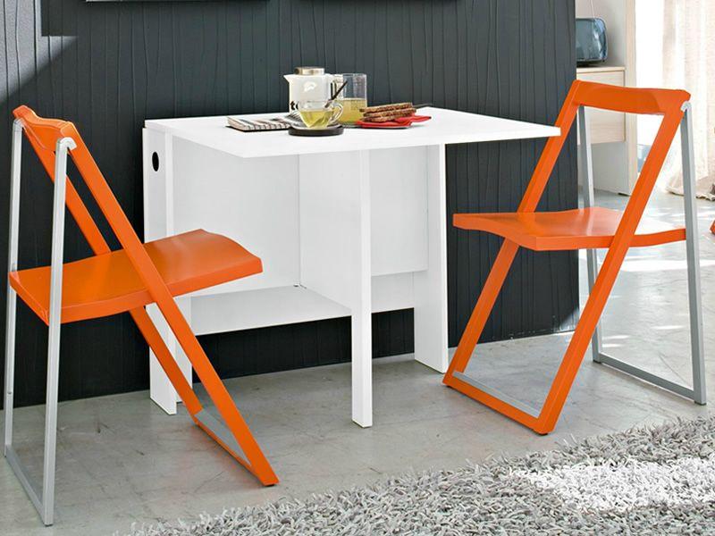 Schon ... CB07 Spazio   Klappbarer Tisch Aus Melamin In Der Farbe Weiss, Mit  Stühle CB207 Skip ...