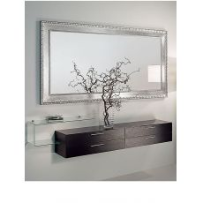Flexi A - Composizione mobile da ingresso con specchio, mobile, mensola in vetro