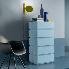 Super-D - Commode haut Dall'Agnese en bois, disponible en différentes finitions, cinq tiroirs