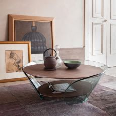 6208 Raffaello - Tonin Casa glass coffee table with wooden top, different finished available