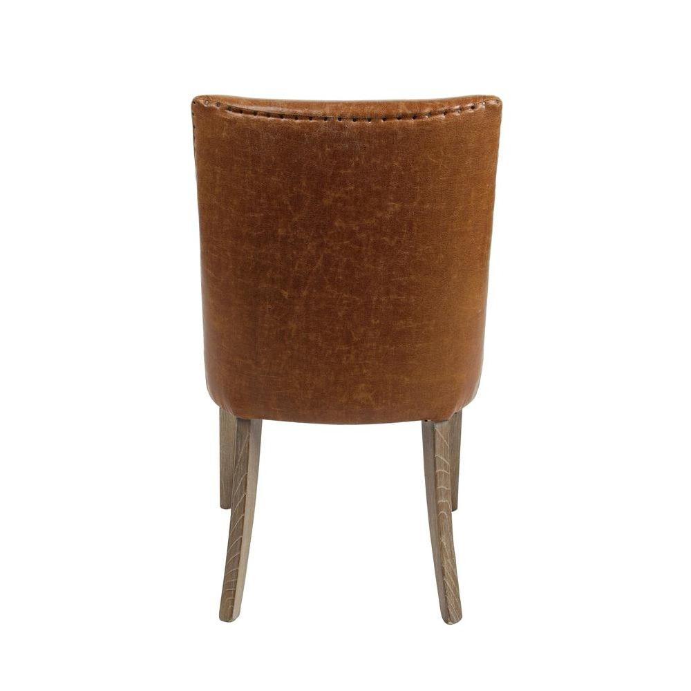 Tebe vintage chaise vintage en bois et similicuir marron - Chaise bois vintage ...