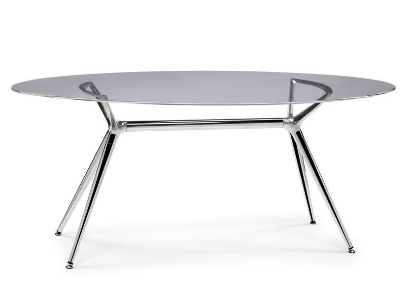 Metropolis 2400 mesa moderna de metal con tapa de cristal for Mesa cristal ovalada