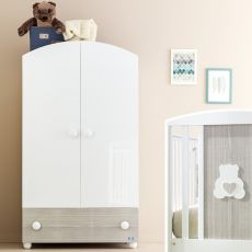 Gaia A - Wooden wardrobe Pali with deep drawer, 2 shelves and 1 hanging rod, available in several colours