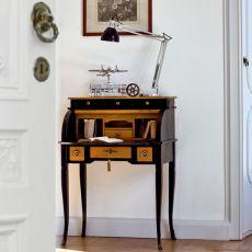Delfino 4268 - Scrittoio classico Tonin Casa in legno, con serrandina e cassetti, diverse finiture disponibili