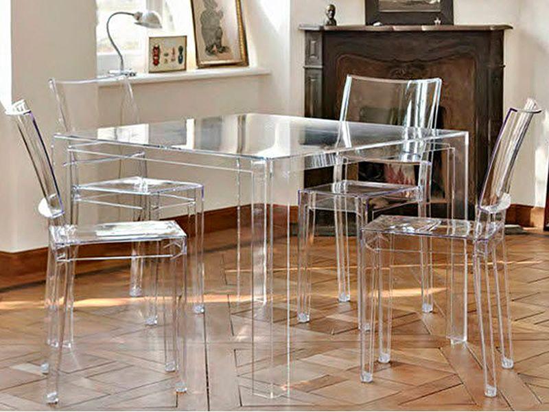 Invisible table design tisch kartell aus polymer 100x100 cm