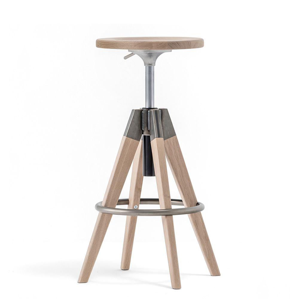 Arki stool tabouret pedrali en bois et m tal tournant et - Tabouret bois reglable en hauteur ...