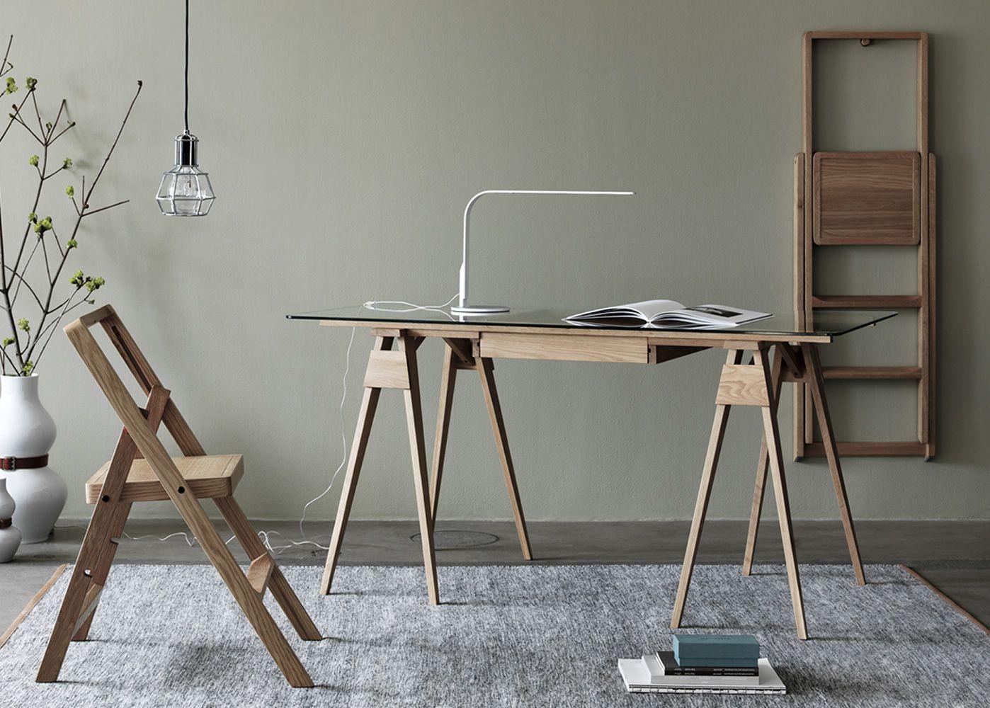 arco schreibtisch aus holz glasplatte 150 x 75 cm mit. Black Bedroom Furniture Sets. Home Design Ideas
