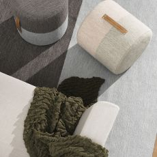 Fields-P - Pouf acolchado y tapizado en lana, en dos distintos colores