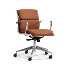 Clip Low - Executive armchair with low backrest, available in fabric, leather or imitation leather