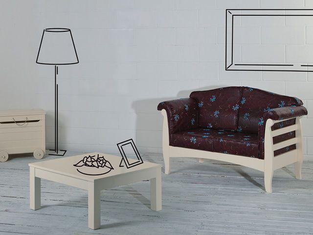 Lar9 divano canap rustique en bois avec coussins for Canape rustique