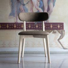 Anja - Chaise Domitalia en bois, assise et dossier rembourré, en différentes couleurs