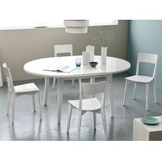 4717 - Wooden table with round glass top 120 cm diameter, extendable