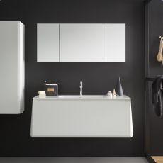 Campus B - Mueble de baño colgante con lavabo integrado y sobre en Korakril™, 1 cajón, disponible en varios colores