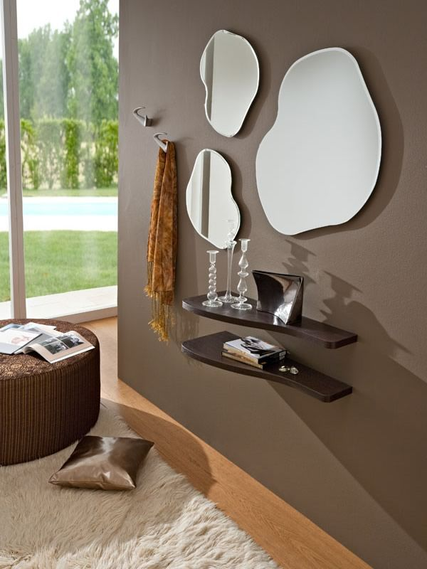 Pa305a ingresso moderno completo di mensole specchi e appendini sediarreda - Specchio con mensola per ingresso ...