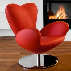 Heartbreaker - Design armchair by Tonon, swivel, outlet version in red imitation leather