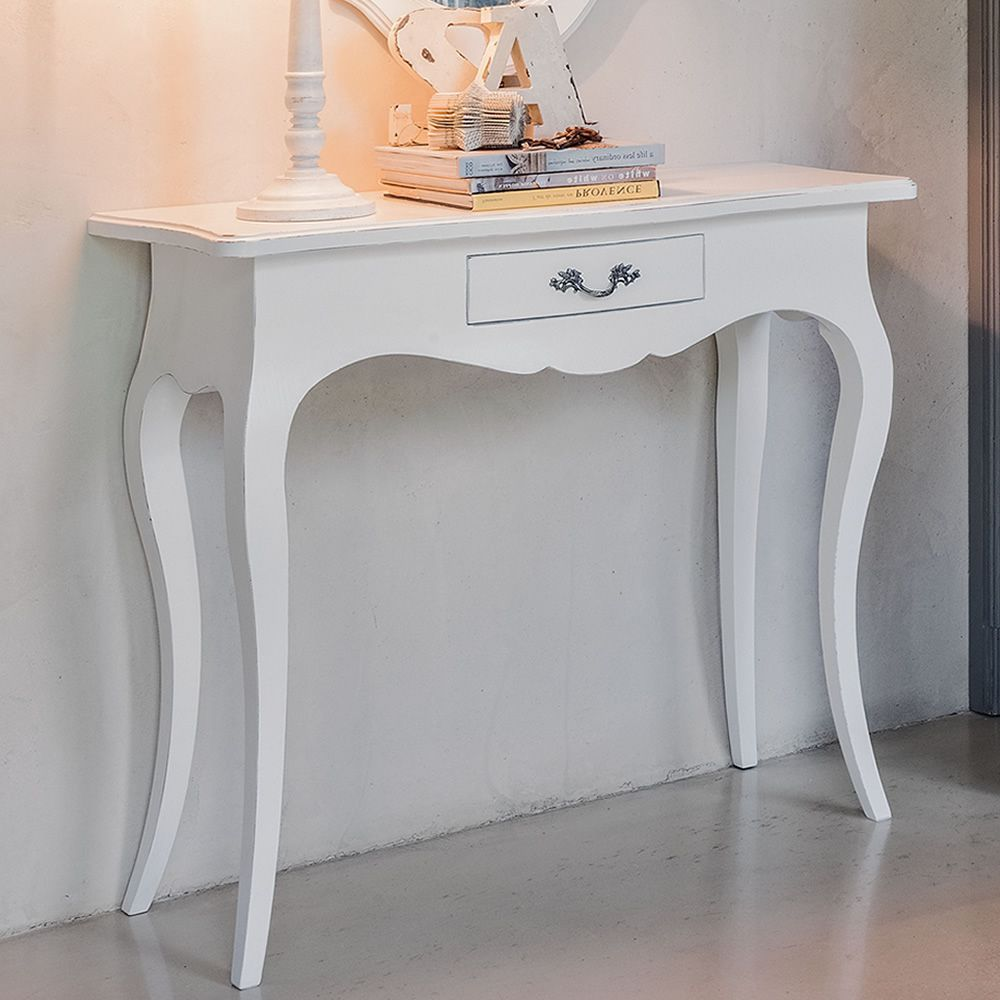 Crile 1454 | Classic console made of almond white lacquered wood, with drawer