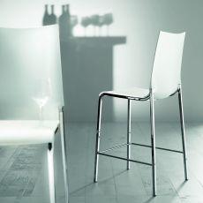 Eva S - Sgabello fisso Bontempi Casa, altezza seduta 64 cm, in alluminio con seduta in polipropilene, disponibile in diversi colori, anche in versione per esterno