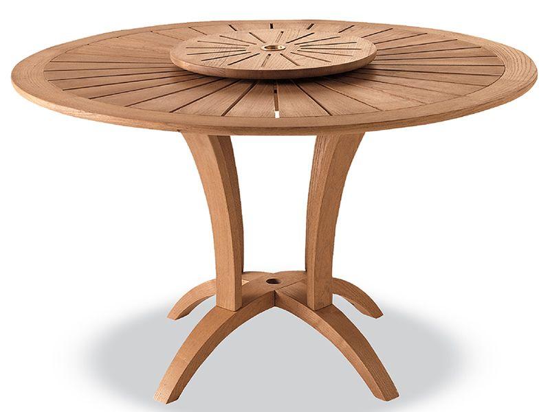 Eclypse table de jardin en bois de robinier diam tre 125 cm plateau centra - Plateau tournant bois 60 cm ...
