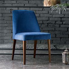 Sara - Chaise Dall'Agnese en bois, assise rembourré et recouverte en simili cuir ou tissu, disponible en différentes couleurs