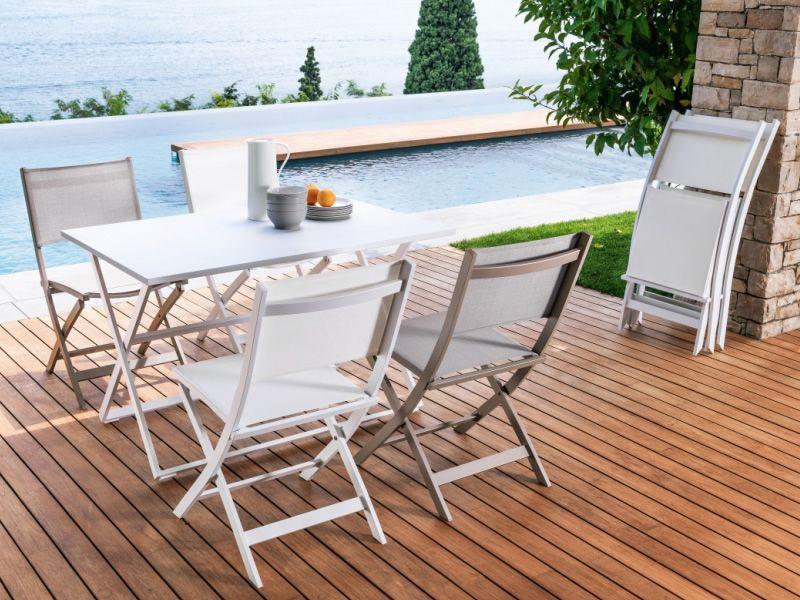 Queen t table pliante en aluminium diff rentes - Table pliante avec chaises encastrables ...