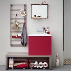 Acqua e Sapone D - Bath cabinet with top and integrated sink in Mineralmarmo®, deep drawer, available in several colours