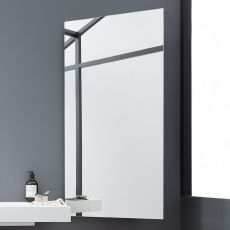 Side - Rectangular mirror with lateral shelves, available in several colours, also with LED light