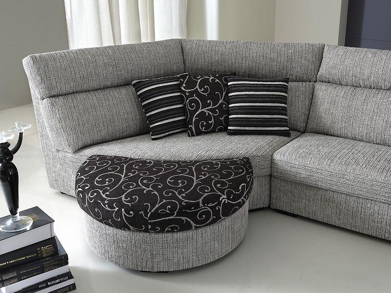 Rond a divano moderno a 2 posti con terminale tondo e - Divano con pouf ...