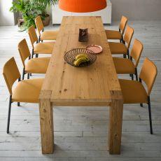 Arcadio - Mesa moderna de madera, fija o extensible, disponible en varias medidas