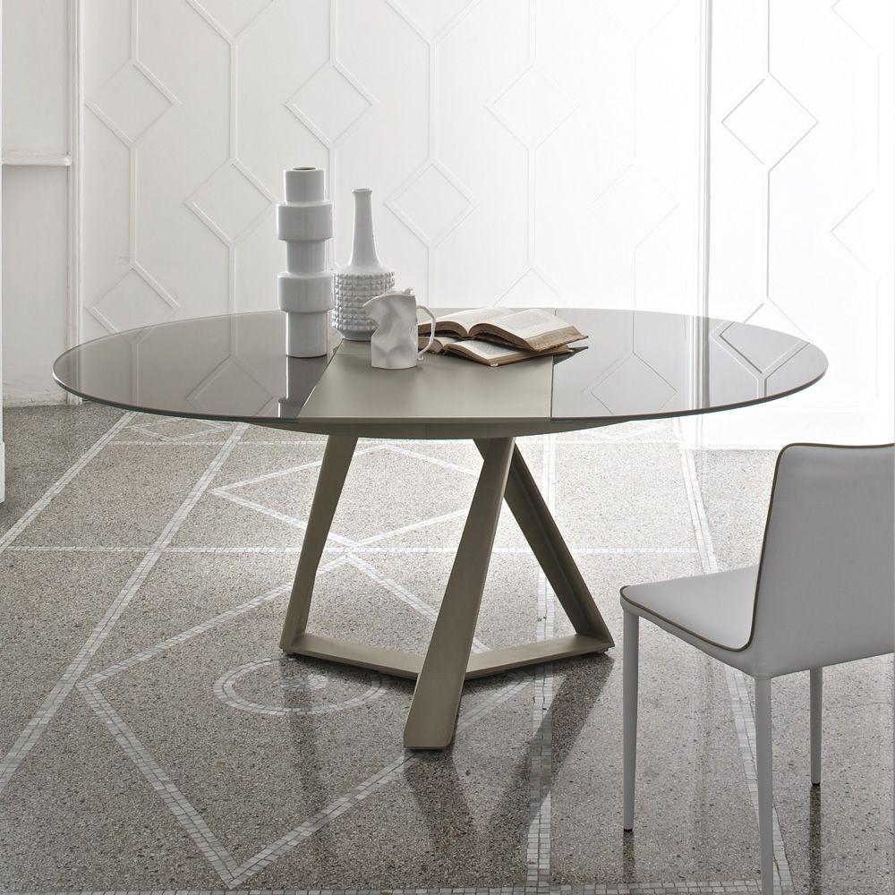 Millennium o ext mesa redonda de dise o bontempi casa de for Mesa redonda cristal extensible