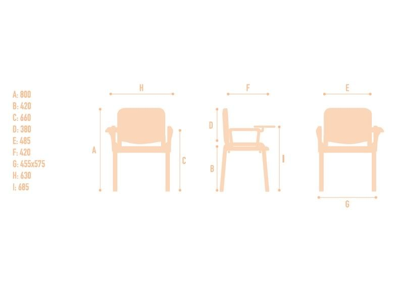 Ml100l silla apilable para sala de espera con asiento y respaldo de madera sediarreda - Medidas silla ...