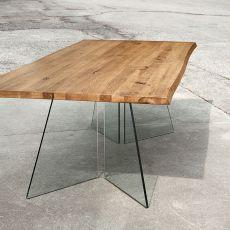 Artik - Tavolo fisso Domitalia in vetro, piano in legno, diverse misure disponibili