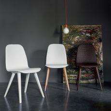 Debby - Chaise Dall'Agnese en bois, assise recouverte en simili cuir matelassé, disponible en différentes couleurs