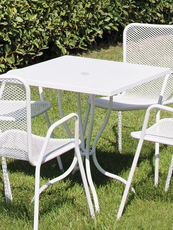 Candle: Tavolo in metallo da giardino, piano quadrato 80x80 cm, con foro porta ombrellone ...