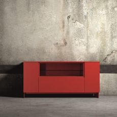 Slim-2 - Dall'Agnese sideboard made of metal and veneered wood, different colours available, two doors, one deep drawer and one open compartment