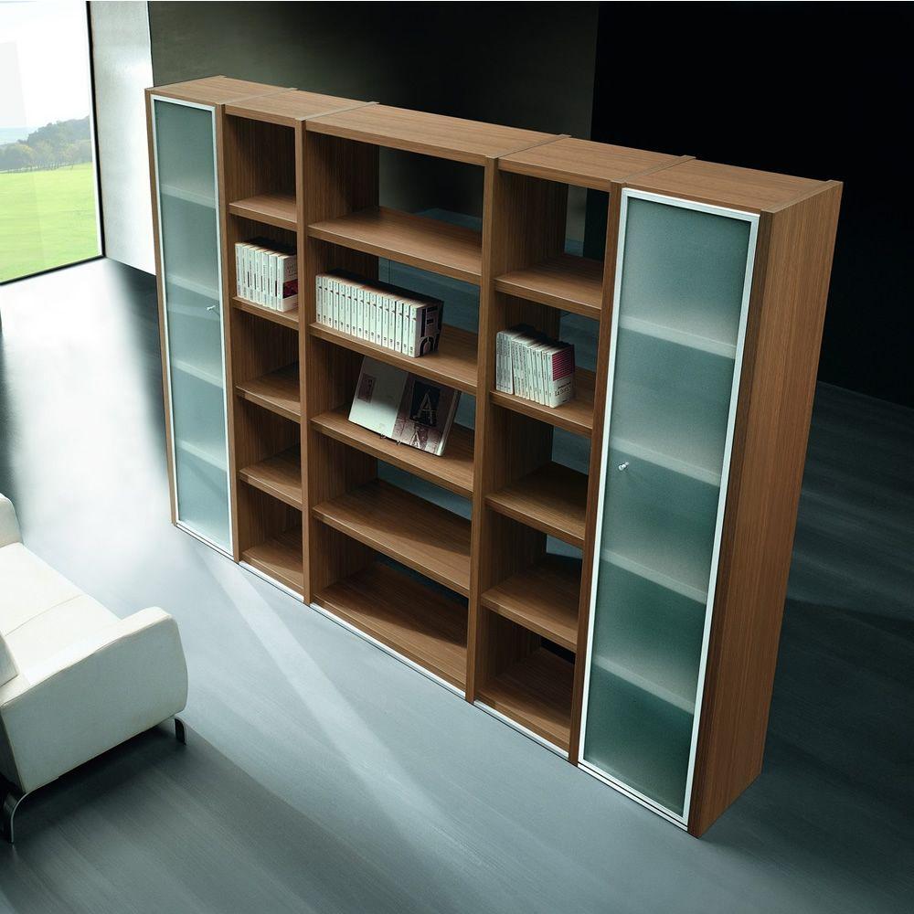 Libreria 01 biblioth que pour bureau hauteur 215 cm avec 5 tag res et deux portes en verre - Bibliotheque pour bureau ...