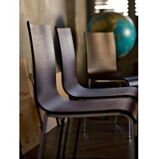 Eva - Midj stackable chair made of metal and veneered wood