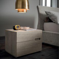 Asola-N - Table de nuit Dall'Agnese en bois, disponible dans différentes finitions, à deux tiroirs