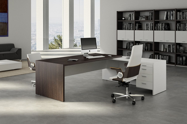 T desk 02 bureau directionnel avec retour secr taire - Bureau couleur wenge ...