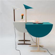 Ostrich - Tavolino-comodino Valsecchi in legno e metallo, con lampada integrata, diversi colori disponibili
