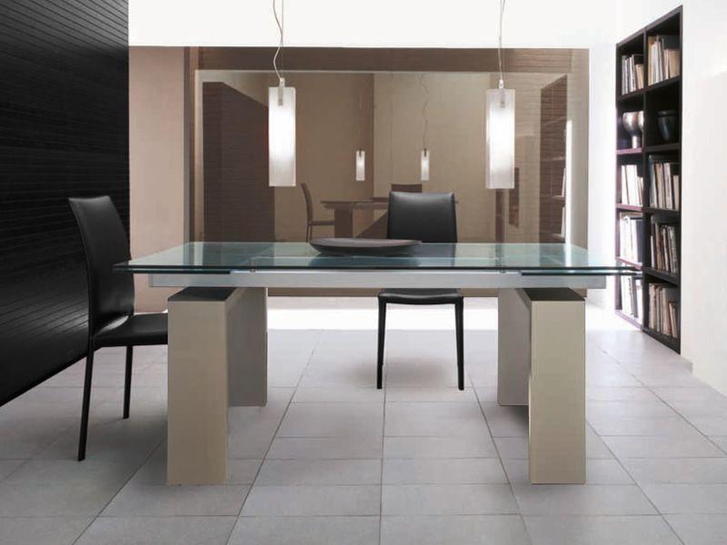 Brooklyn 8000 tavolo tonin casa in legno laccato piano for Tavolo allungabile vetro trasparente