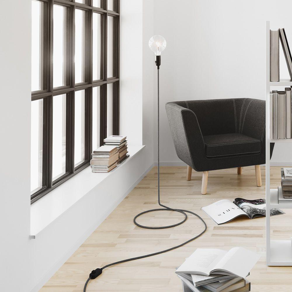 Cord lampada da terra di design cavo in acciaio rivestito in tessuto - Lampade da terra design outlet ...