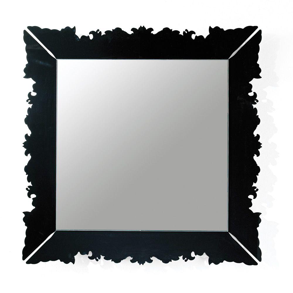 Novecento q miroir carr de colico design 90x90 cm en for Miroir noir design