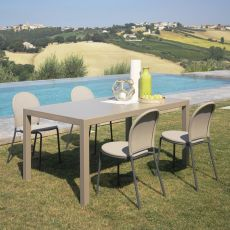 Cloud - Table en metal, à rallonge, disponible en différentes dimensions et couleurs, pour jardin