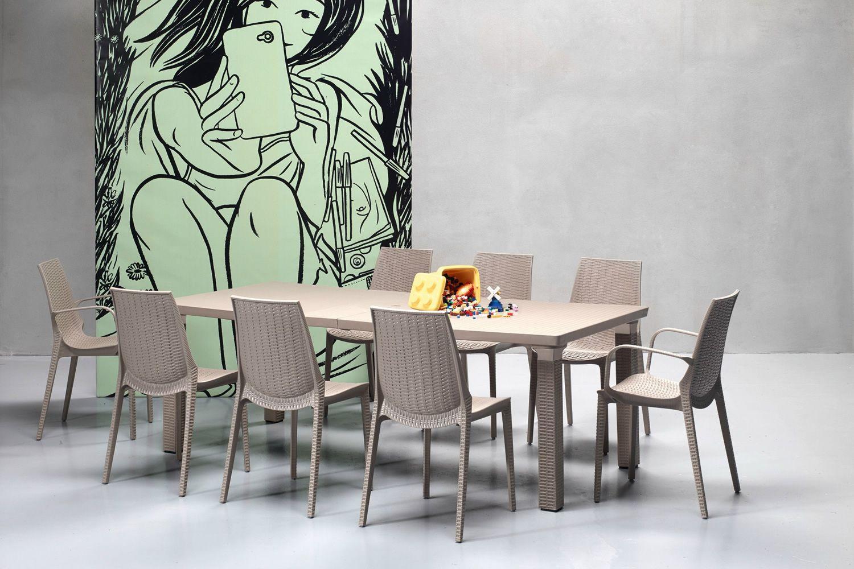 triplo 1889 verl ngerbarer gartentisch 170x100 cm aus aluminium und technopolymer kunstrattan. Black Bedroom Furniture Sets. Home Design Ideas