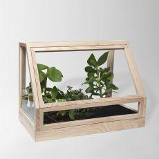 Greenhouse Mini - Fioriera  -  vaso per piante in legno di frassino, tinta naturale o laccato grigio scuro