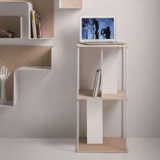 Domino Q - Mobile componibile di design B-Line, con struttura in metallo e piani in legno, con o senza ruote, disponibili in diverse configurazioni e colori