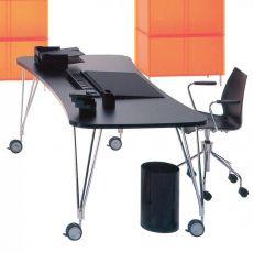 Max - Tavolo scrivania Kartell di design, in acciaio e laminato, con o senza ruote, disponibile in diverse misure e colori