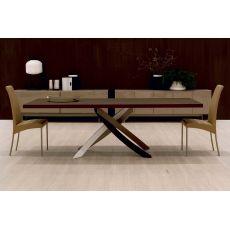 Artistico Wood - Mesa de diseño Bontempi Casa, fija 200x106 cms, con el pie central de metal y tapa de madera, disponible en distintos colores